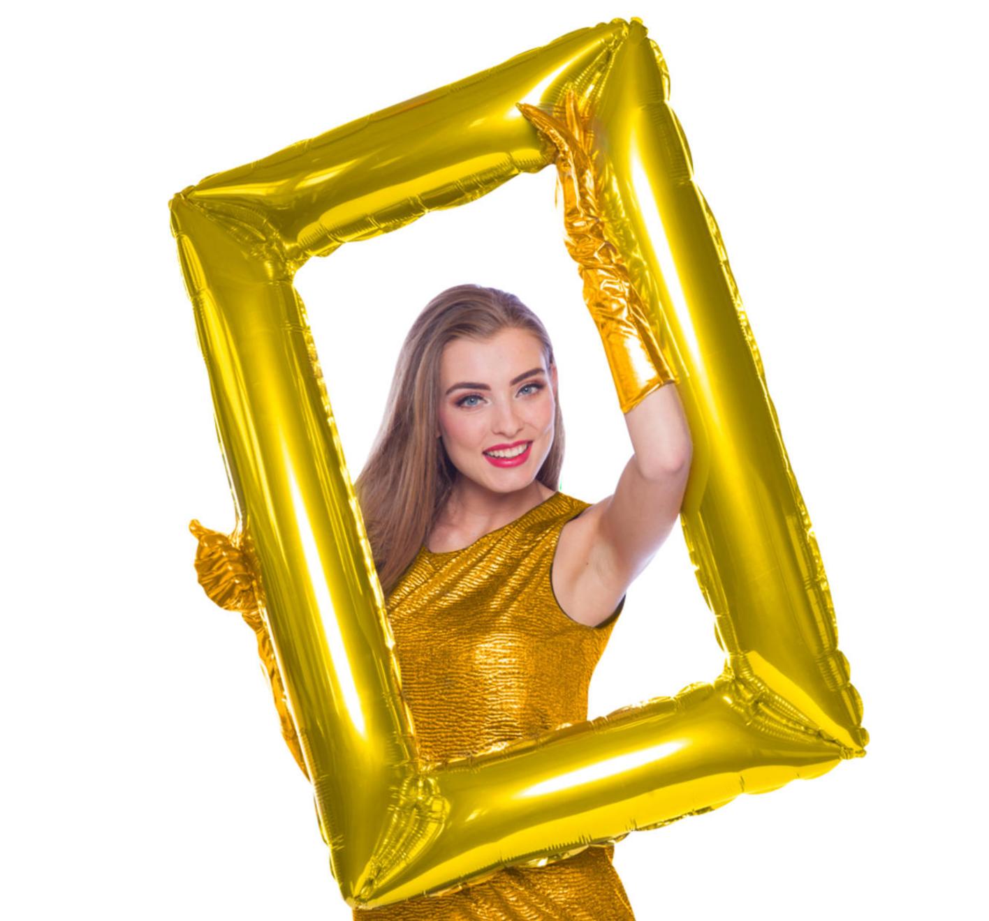 Folieballon - Selfie lijst - Schilderij goud - 60x85cm - Niet voor helium - in Feestartikelen