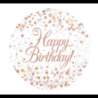 Folieballon - Happy birthday - Holografisch - Rosé Goud - 45cm - Zonder vulling
