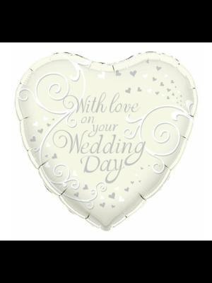 Folieballon - Huwelijk - With love weddingday - 45cm - Zonder vulling
