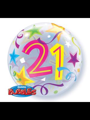 Qualatex Folieballon - 21 Jaar - Bubble - 56cm - Zonder vulling