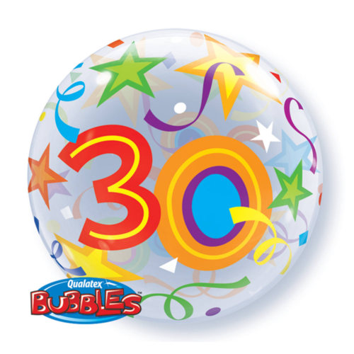 Qualatex Folieballon - 30 Jaar - Bubble - 56cm - Zonder vulling