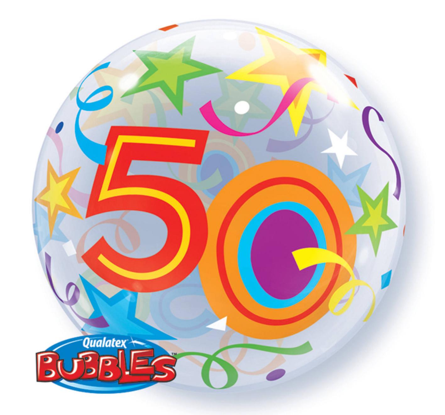 Folieballon - 50 Jaar - Bubble - 56cm - Zonder vulling - in Feestartikelen