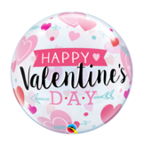 Folieballon - Happy valentine#039s day - Bubble - 56cm - Zonder vulling - in Feestartikelen