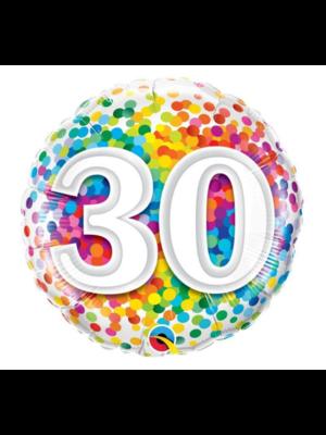 Qualatex Folieballon - 30 Jaar - Regenboog confetti - 43cm - Zonder vulling