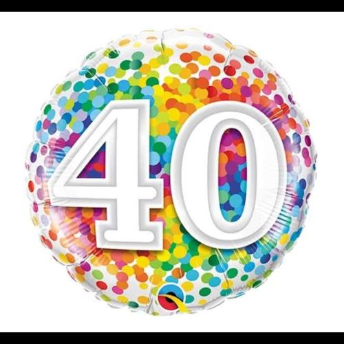 Qualatex Folieballon - 40 Jaar - Regenboog confetti - 43cm - Zonder vulling