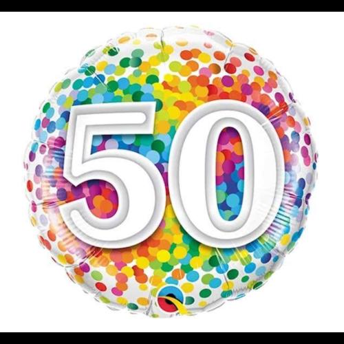 Qualatex Folieballon - 50 Jaar - Regenboog confetti - 43cm - Zonder vulling