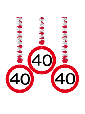 Folat Hangdecoratie - 40 Jaar - 3st.