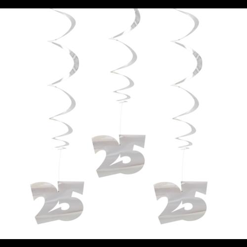 Folat Hangdecoratie - Spiraal - 25 Jaar - Zilver - 3st.