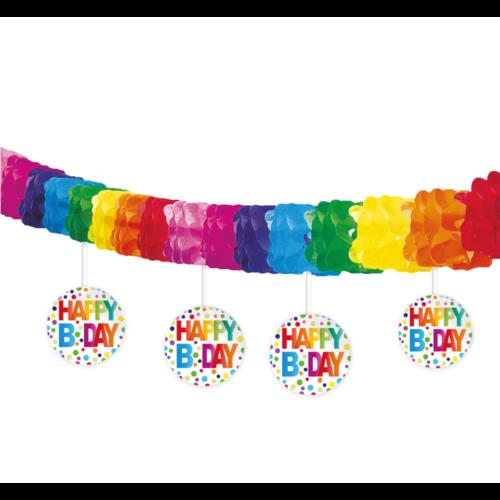 Folat Slinger - Met onderhangers - Happy bday - Rainbow dots - 4m