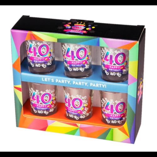 Paperdreams Shotglaasjes - 40 Jaar - 6st. - In geschenkverpakking