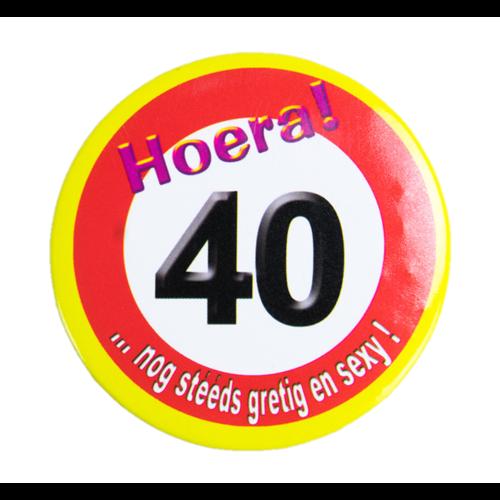 Paperdreams Button - 40 Jaar - Verkeersbord - Klein