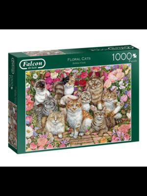 Falcon Puzzel - Bloemen & katten - 1000st.