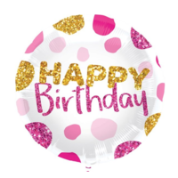 Folieballon - Happy birthday dots - Wit roze goud - Zonder vulling