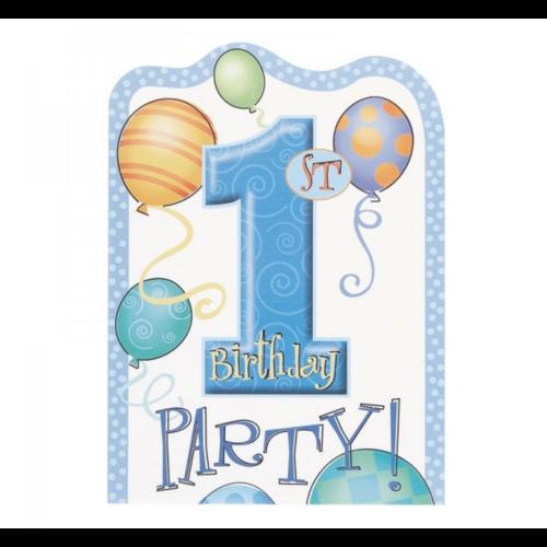 Uitnodigingskaarten - 1st Birthday - Blauw - 8st.