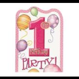 Uitnodigingskaarten - 1st Birthday - Roze - 6st.