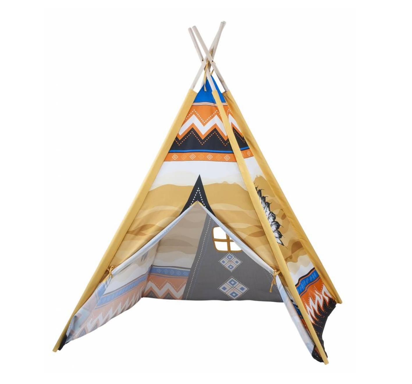 Tent - Indianentent met houten stokken - 130x95x95cm