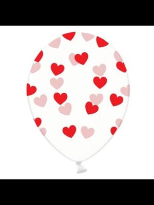 PartyXplosion Ballonnen - Doorzichtig - Rode hartjes - 30cm - 6st.
