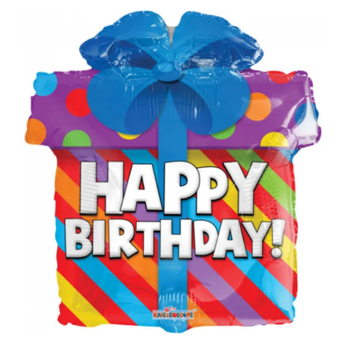 PartyXplosion Folieballon - Happy birthday - Cadeautje - 45cm - Zonder vulling
