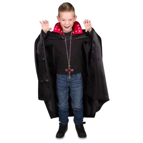 Folat Kostuum - Cape - Dracula - Met verlichting - Zwart & rood