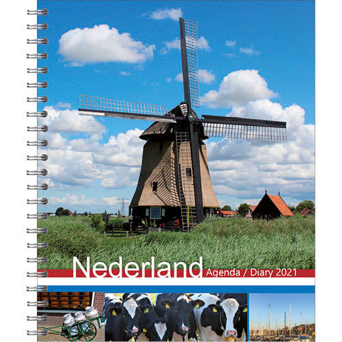 Agenda - 2021 - Holland - Met spiraal - 17,5x21,5cm - in Agenda's