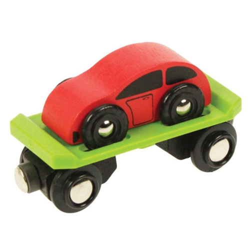 BigJigs BigJigs - Trein - Wagon met auto
