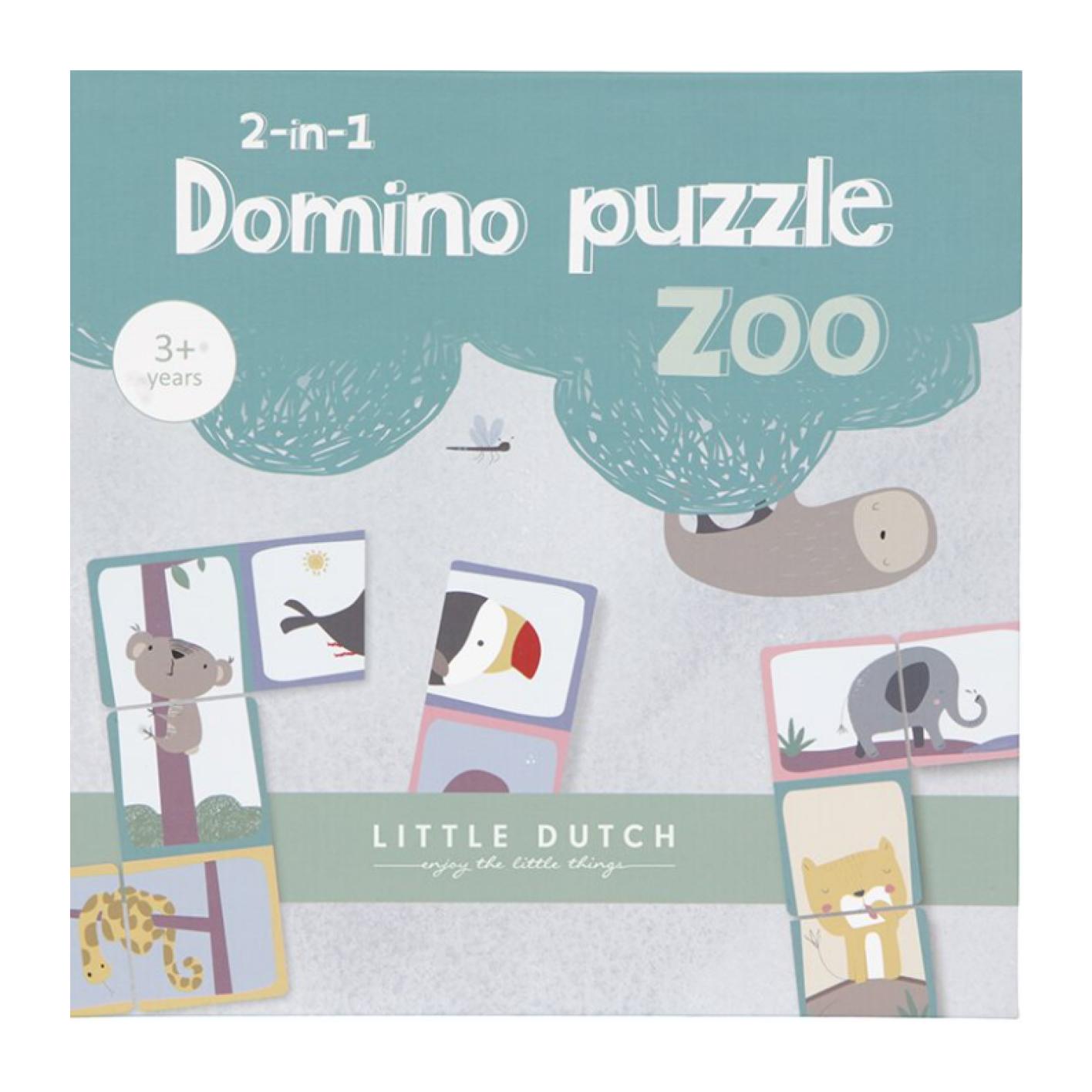 Spel puzzel - Domino amp puzzel in 1 - Dierentuin