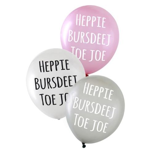 PartyXplosion Ballonnen - Heppie bursdeej - Metallic - 6st.
