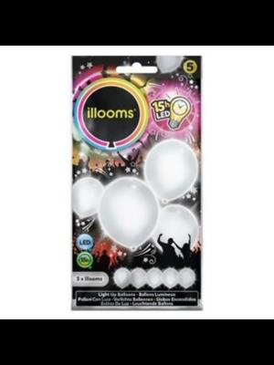 PartyXplosion Ballonnen - Wit - Met licht - Incl. batterijen - 23cm - 5st.