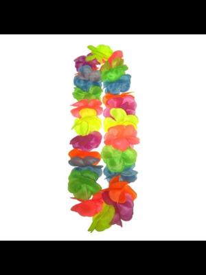 PartyXplosion Bloemenketting - Hawaii - Grote bloemen - Fluor / neon