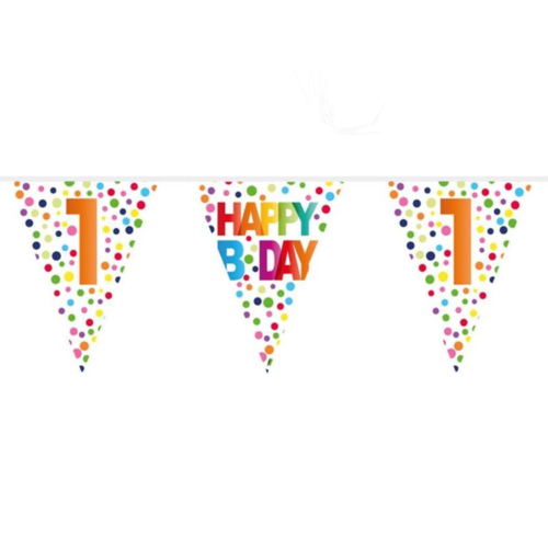 Folat Vlaggenlijn - Happy bday 1 - Rainbow dots - 10m