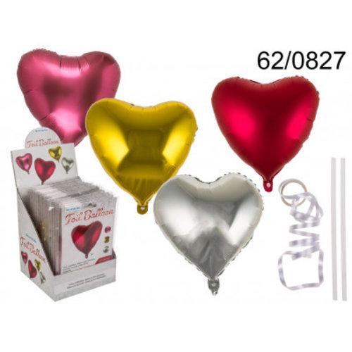 Out of the blue Ballon - Folieballon - Hart - Metallic - 45cm - 1 stuks - Kleur willekeurig geleverd - Zonder vulling
