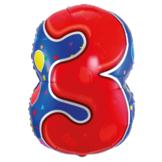 Folieballon - 3 - Shape - 56cm - Zonder vulling - in Feestartikelen