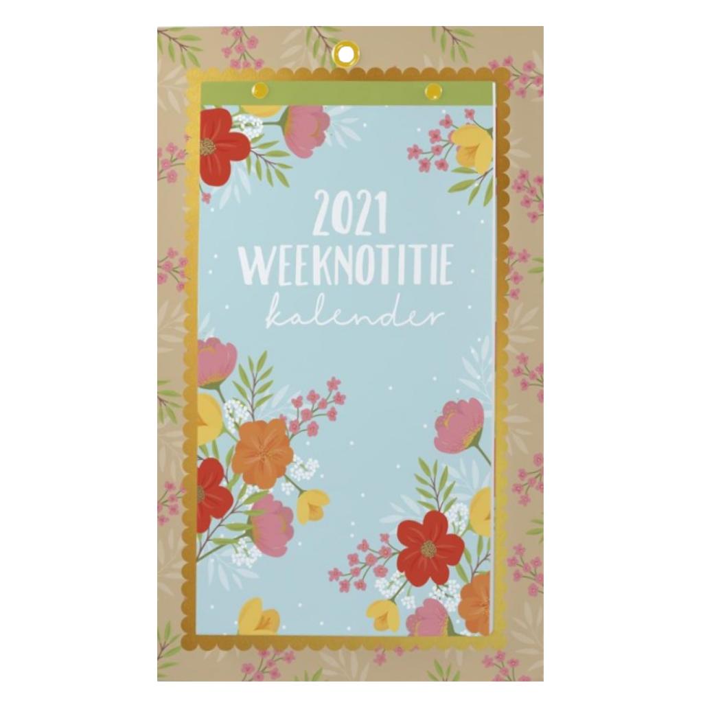 Paperclip Weeknotitie Kalender -2021 - Op schild - In full bloom