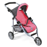 Poppen buggy - Jogging model - Lola - Hard roze grijs