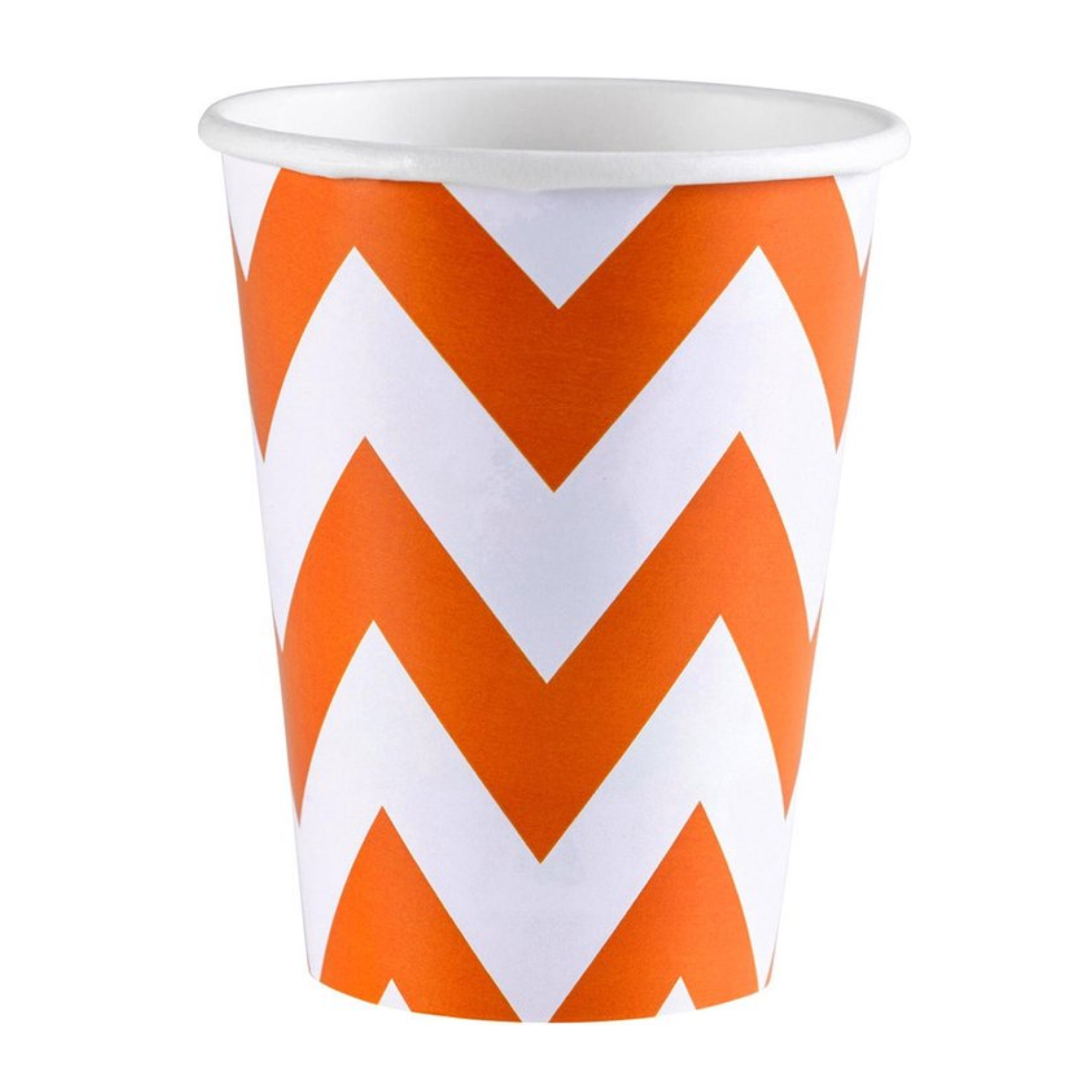 Bekers - Oranje amp wit - Zigzag - Karton - 8st.