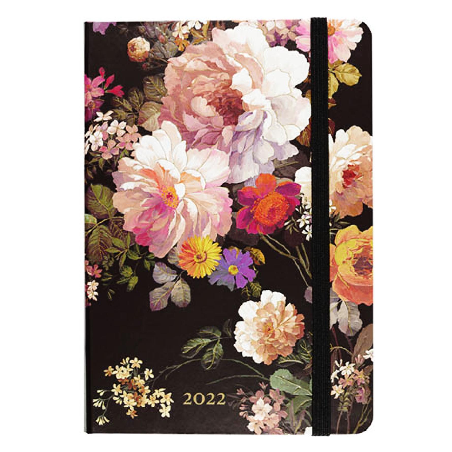 Agenda - 2022 - Compact - 16 Maanden - Nachtelijke bloemen - 12,7x17,8cm - in Agenda's