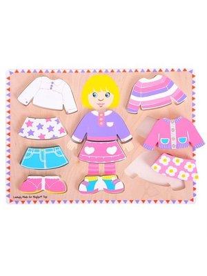 BigJigs Puzzel - Aankleden - Meisje - 10st.