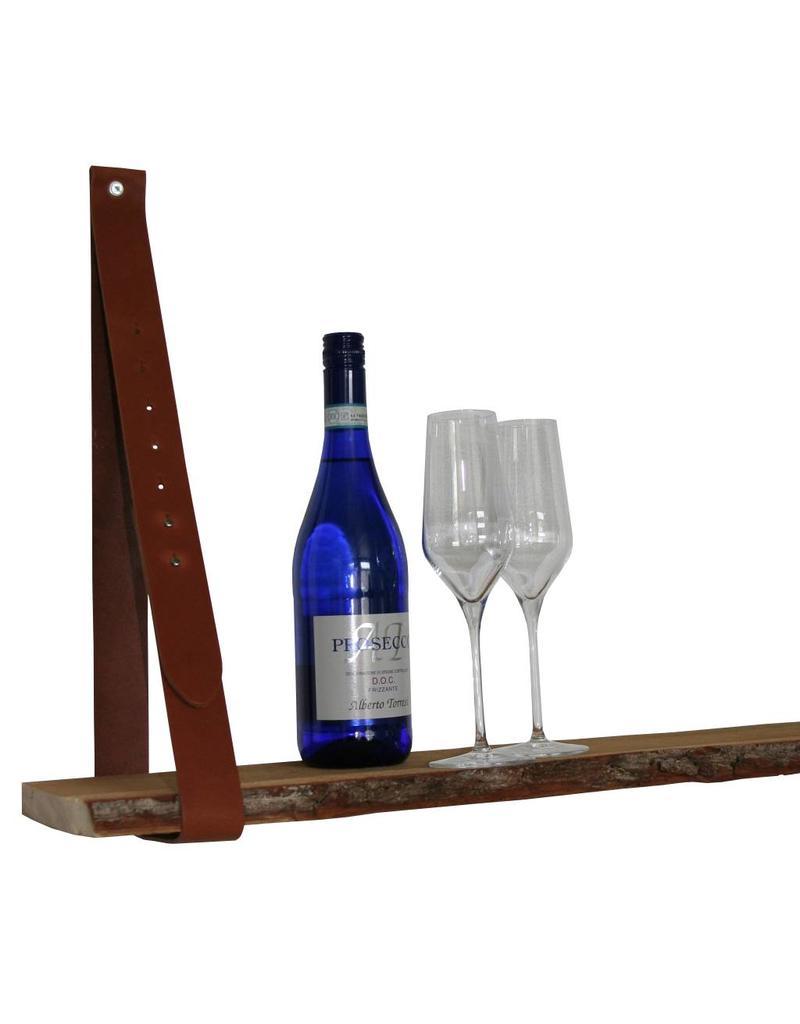 100% original Leather shelf supports cognac brown adjustable (price per piece)