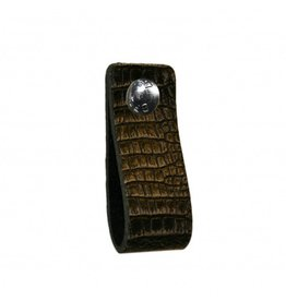 100% original Leren handgreep met crocodile print zwart / grijs