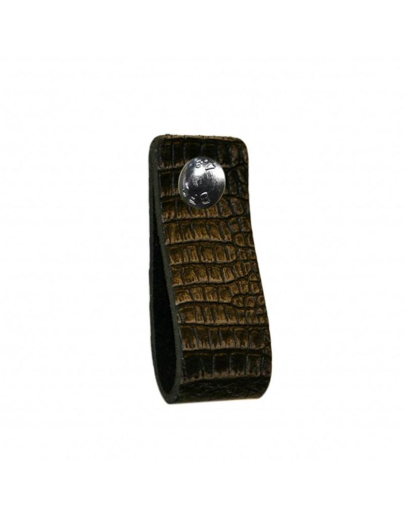 100% original Leather Pulls crocodile black/grey XSmall 2cm wide
