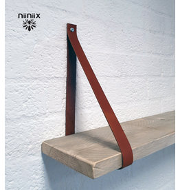 100% original 3cm width leather shelf support 2 pieces Cognac