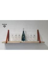 100% original 3cm breed Leren planken dragers 2 stuks cognac