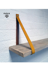100% original leather shelf support ocher yellow