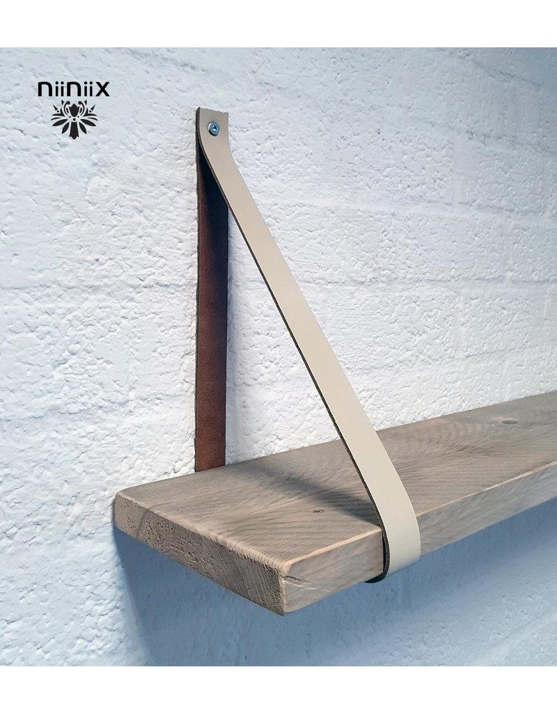 100% original 3,5cm breed Leren planken dragers 2 stuks creme