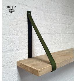 100% original 3,5cm breed Leren planken dragers 2 stuks khaki