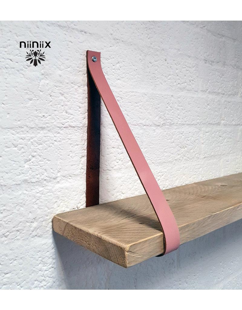 100% original 3,5cm breed Leren planken dragers 2 stuks oud rose