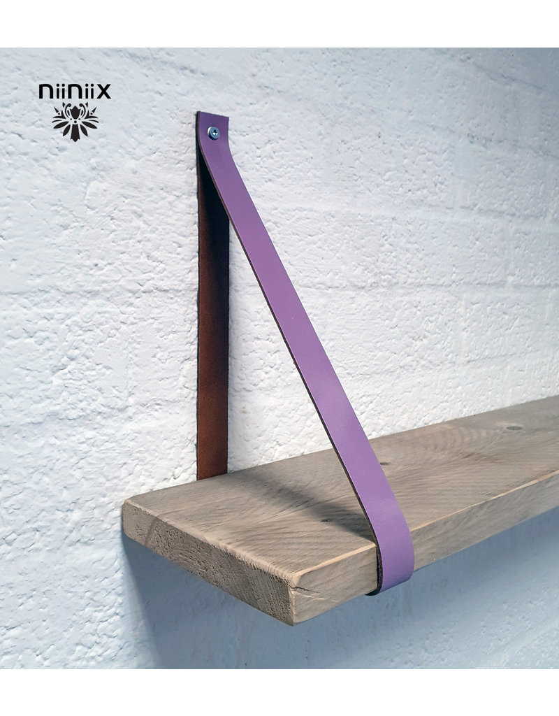 100% original 4cm breed Leren planken dragers 2 stuks lavendel
