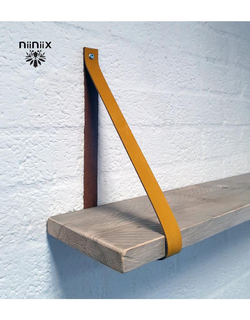 100% original 4cm breed Leren planken dragers 2 stuks oker geel