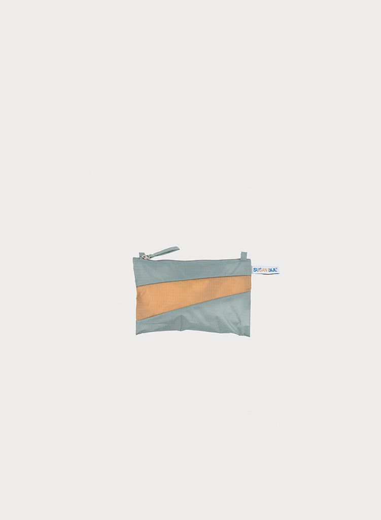 SUSAN BIJL Pouch Grey & Camel, with loops