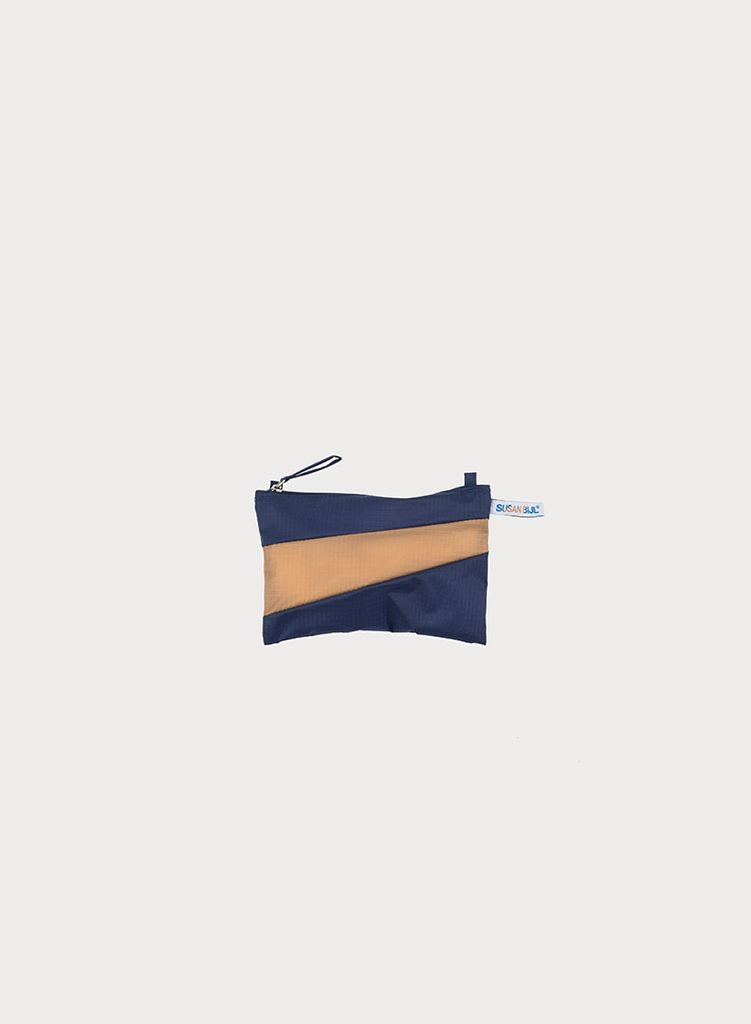 SUSAN BIJL Pouch Navy & Camel, with loops